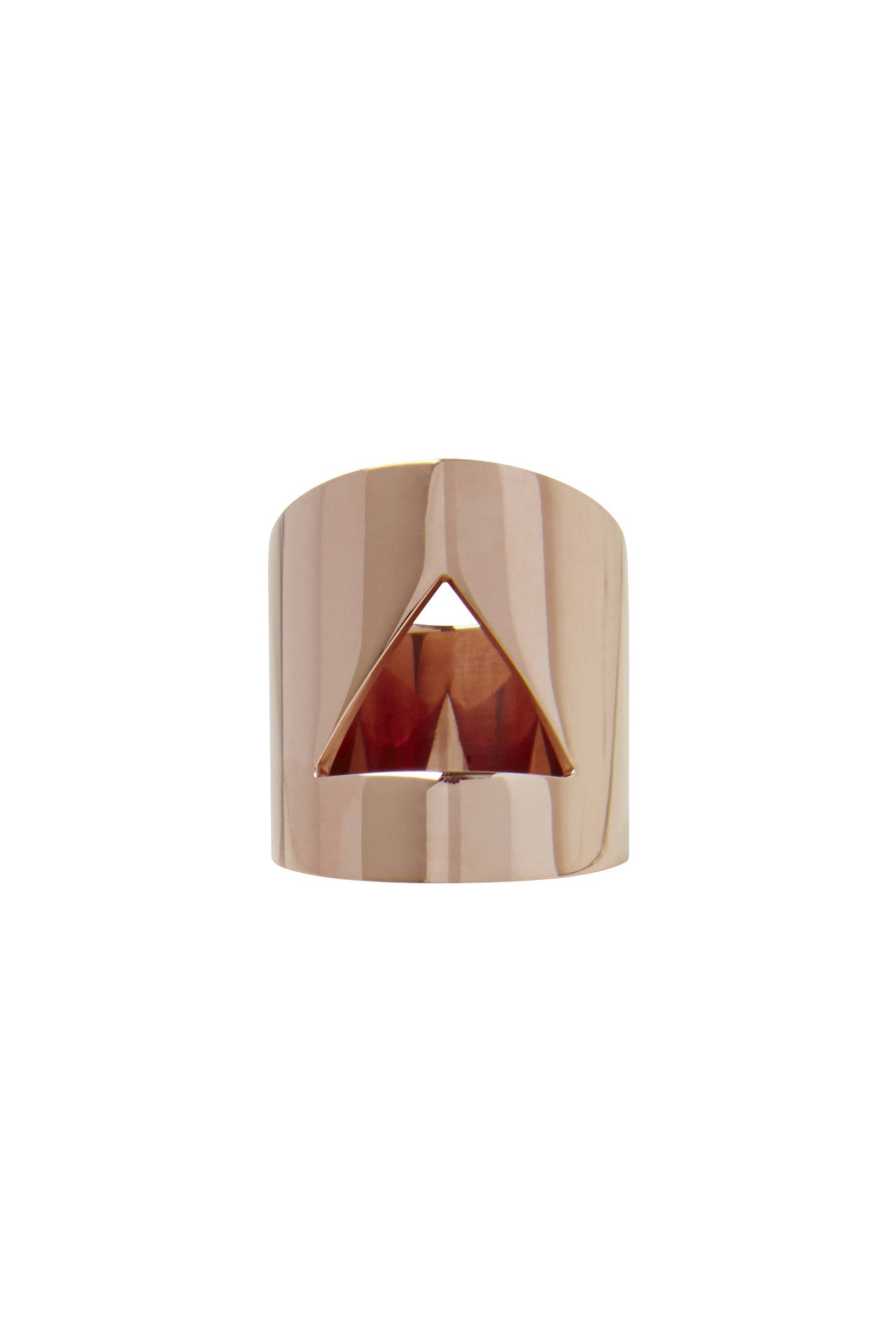 Vera Xane Barrel Triangle Ring Rose Gold