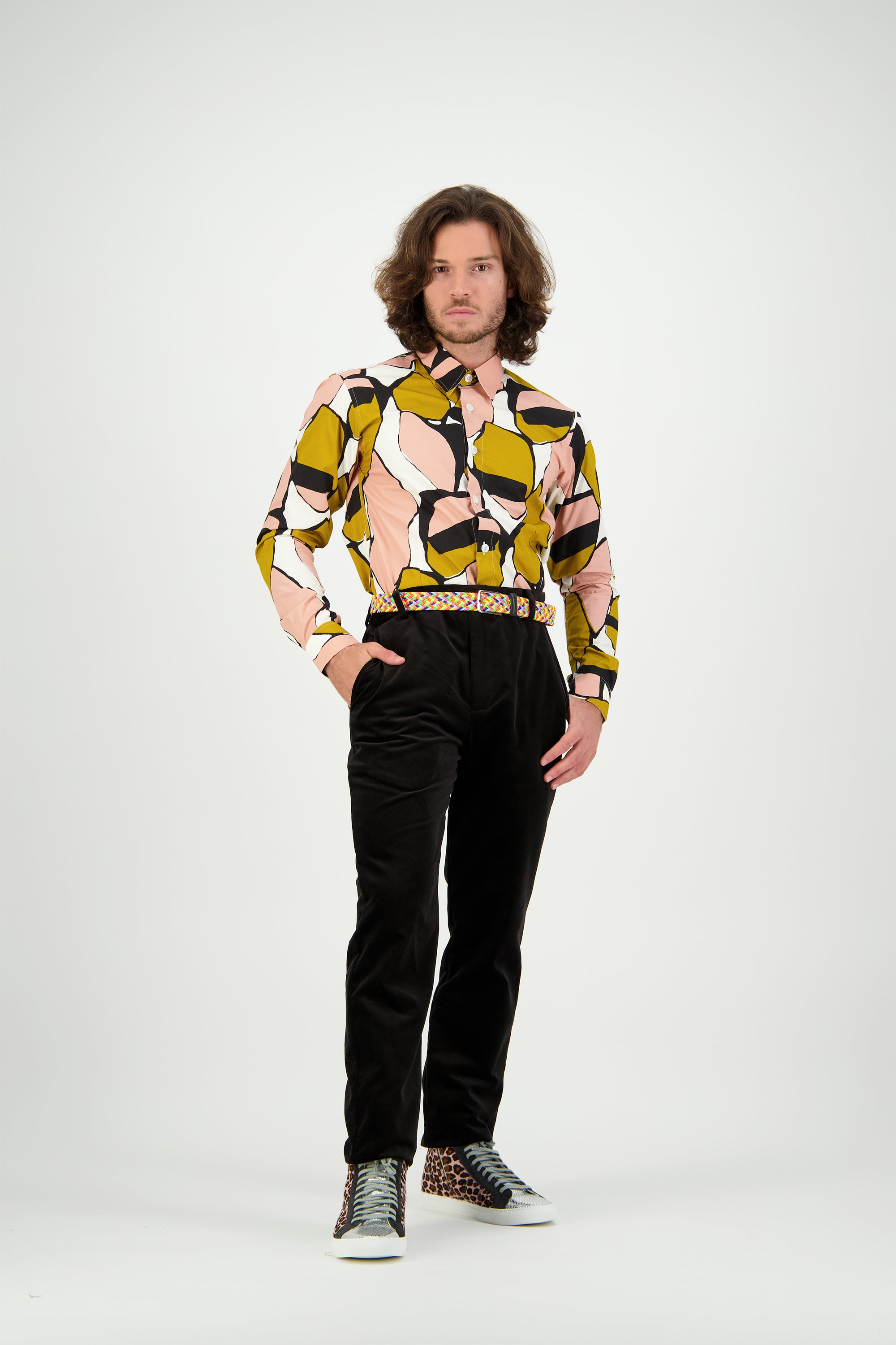 WORLDman 4721 Thurgood Shirt Peach Mustard Black