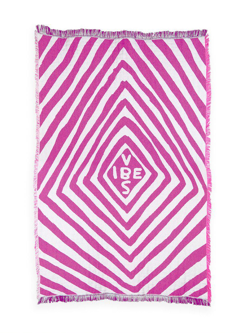 Vibes Throw Blanket x David Shrigley - Pink