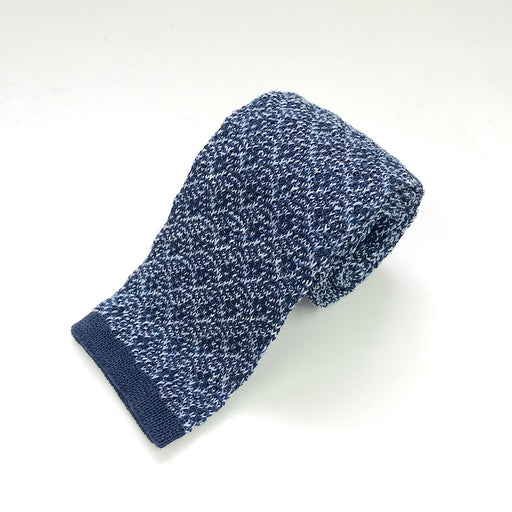 WORLD Knit Tie - Navy Blue Pattern