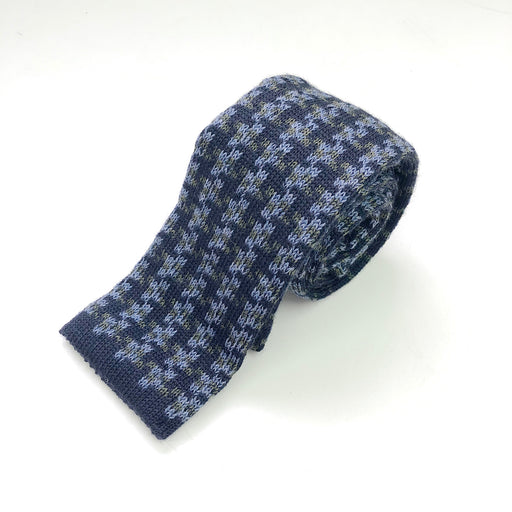 WORLD Knit Tie - Navy Green Pattern