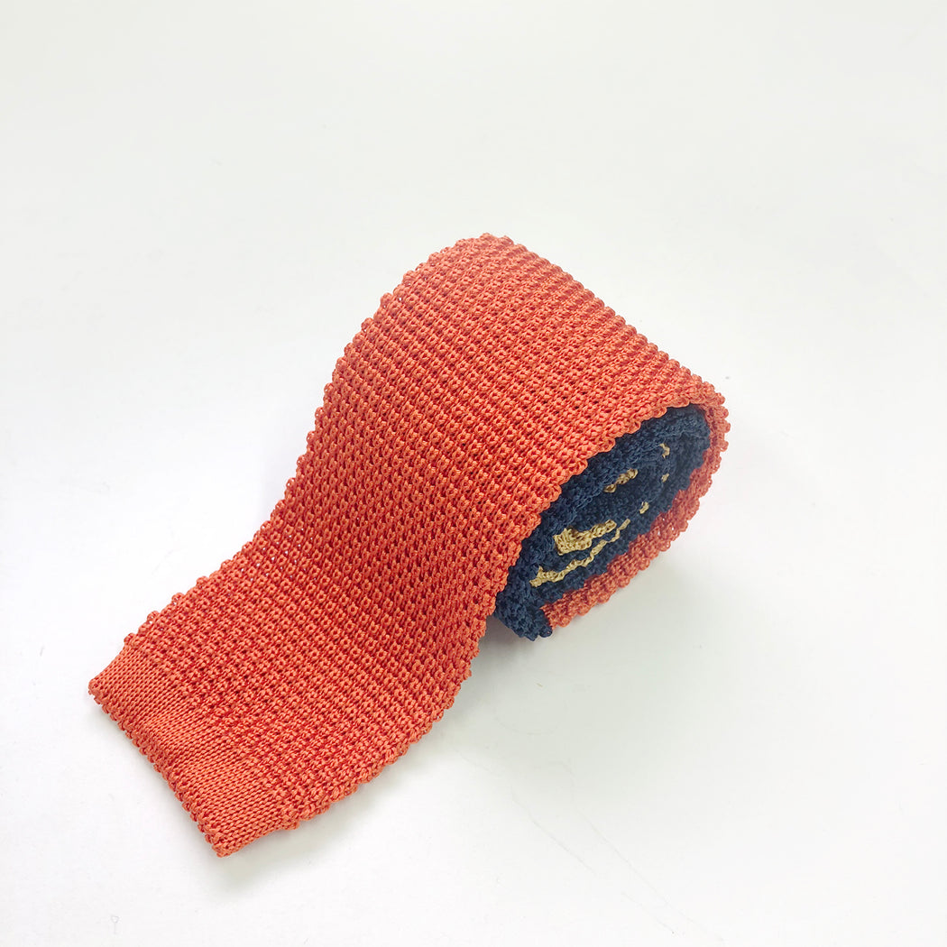 WORLD Knit Tie - Silk Orange Navy Gold