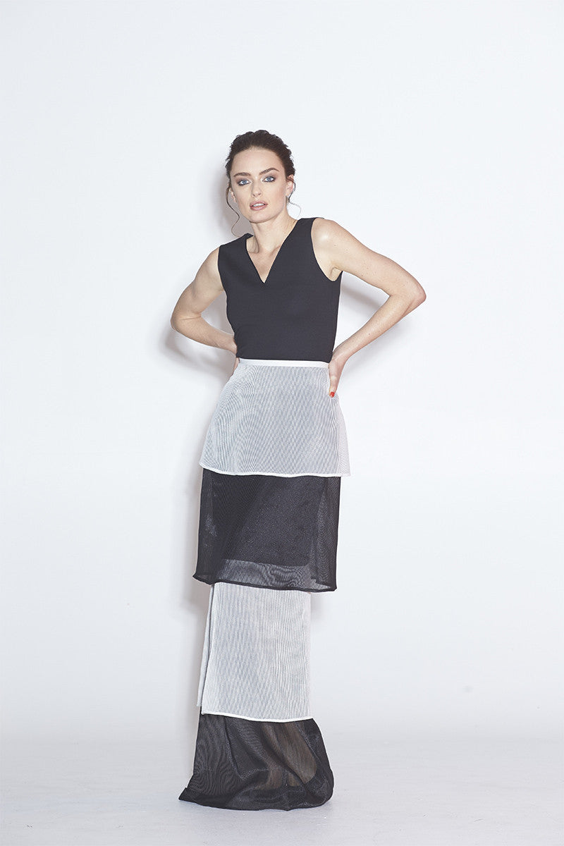 WORLD 4040 Flapper Skirt Black & White