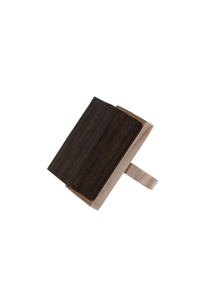 Vera Xane Rectangle Ring Rose Gold/Wood