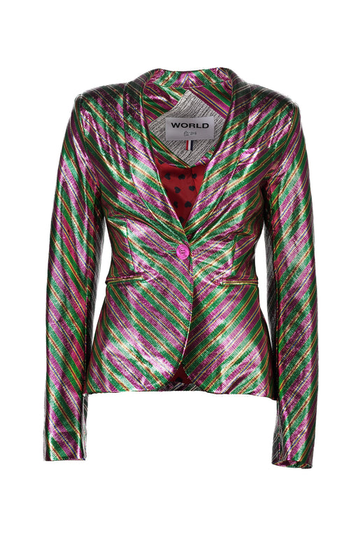 WORLD 4358 Night Fever Blazer Green Foil Stripe