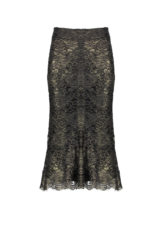 WORLD 4367B Beegee Skirt Black Gold Lace