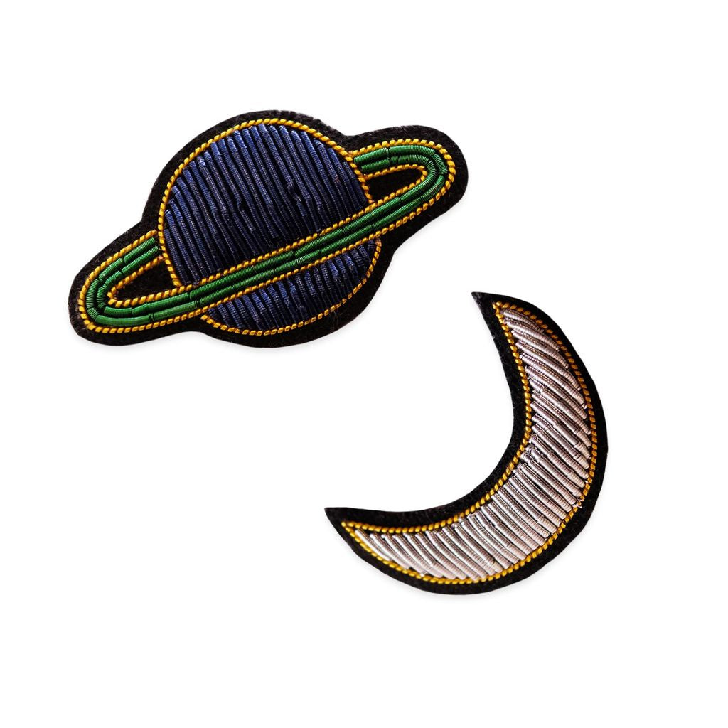 Georgia Perry Embroidered Bullion Pin/ MOON & SATURN