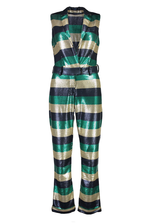 WORLD 4380 Daddy Cool Jumpsuit Sequin Stripe