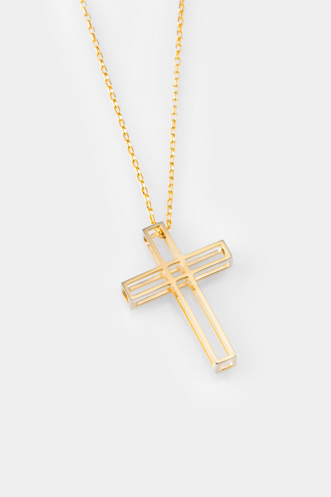 Vera Xane Small Cage Cross Necklace Gold