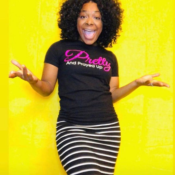 Pretty And Prayed Up Signature Tee- Black/PINK