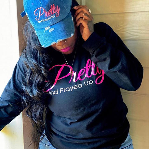 Pretty And Prayed Up Long Sleeve T-Shirt- Black AND PINK