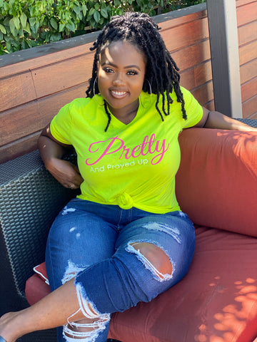 Pretty And Prayed Up V-Neck Tee - NEON