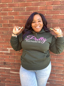 Pretty And Prayed Up Signature Hoodie- GREEN