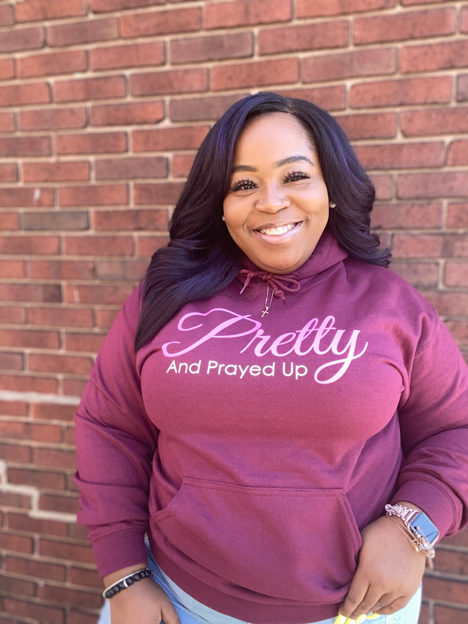 Pretty And Prayed Up Signature Hoodie- Maroon