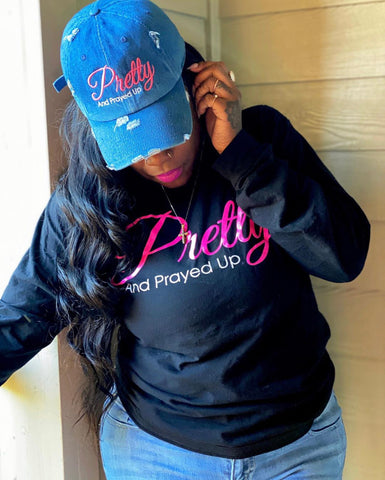 Pretty And Prayed Up Dad Hats -DENIM DISTRESSED - Pretty and Prayed Up