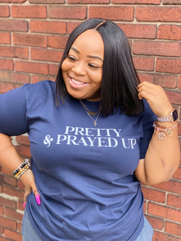 Pretty And Prayed Up Tee- Navy Blue