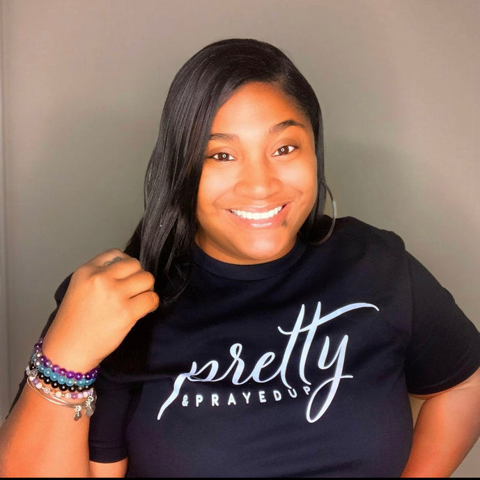 Pretty And Prayed Up Tee- BLACK/WHITE
