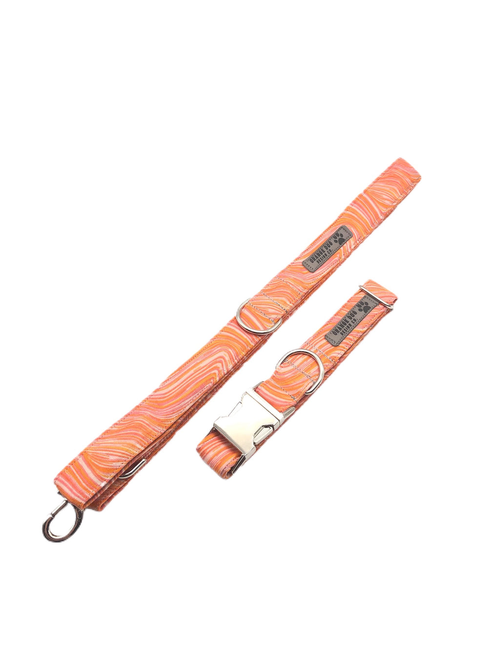 Orange Sea Glass Collar & Leash Set