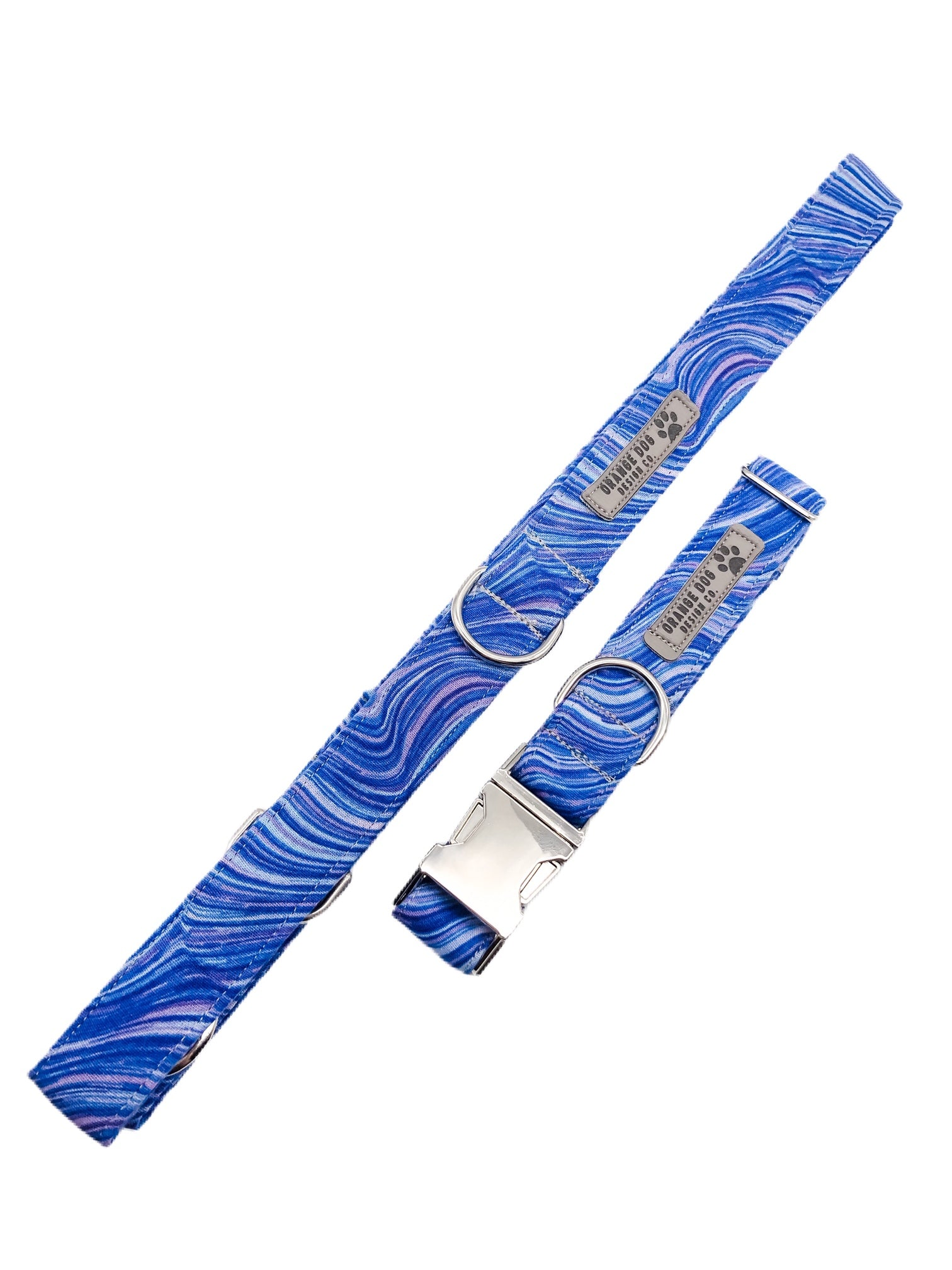 Royal Blue Sea Glass Collar & Leash Set