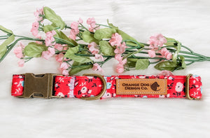 Dark Pink Floral Dog Collar