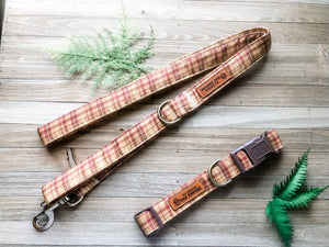 Plaid Dog Collar Leash Set