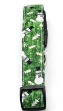 Load image into Gallery viewer, Green Snowman Flurry Dog Collar w/Bow