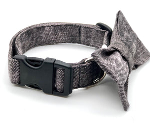 Plum Mock Denim Dog Collar w/Bow