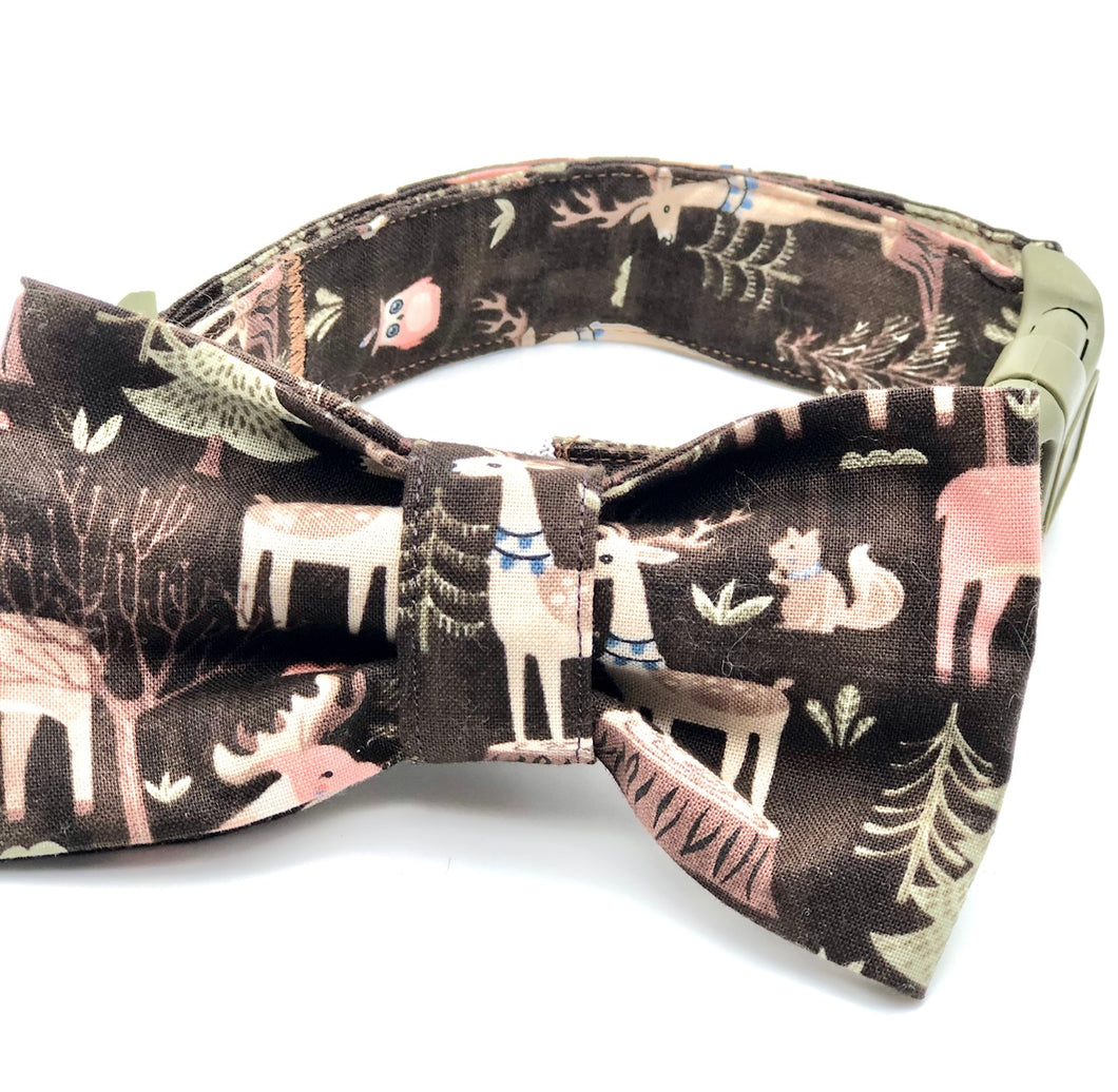 Woodland Forest Dog Collar w/Bow