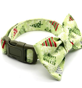 Christmas Trees Dog Collar w/Bow