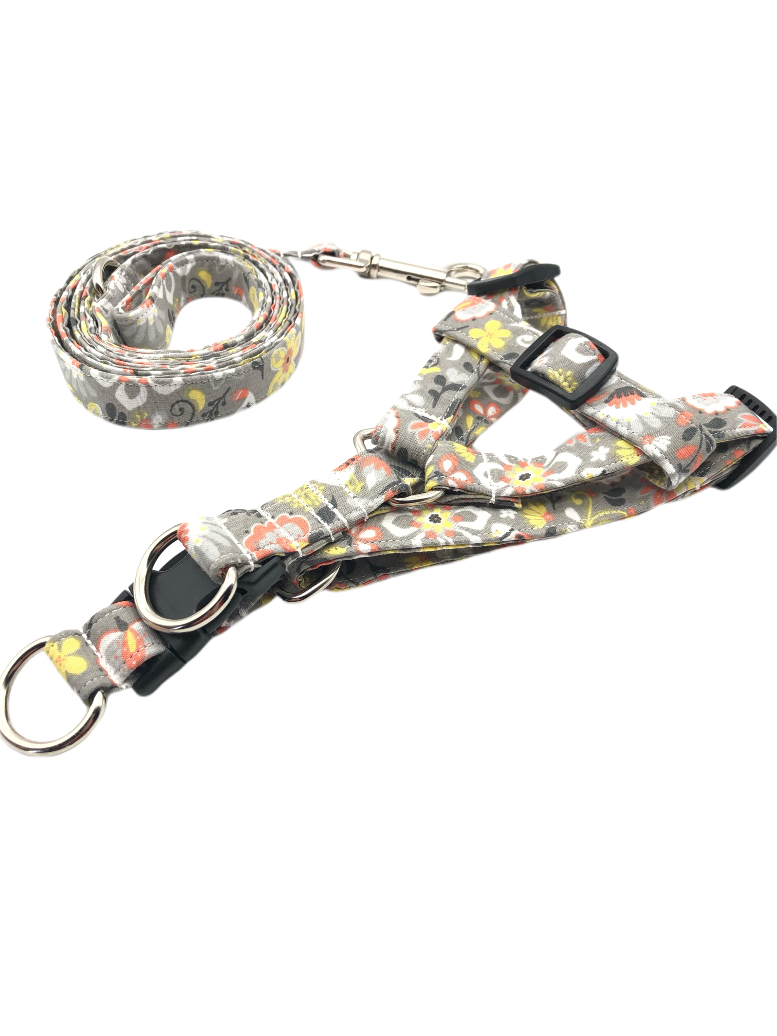 Orange Floral Harness Leash Set