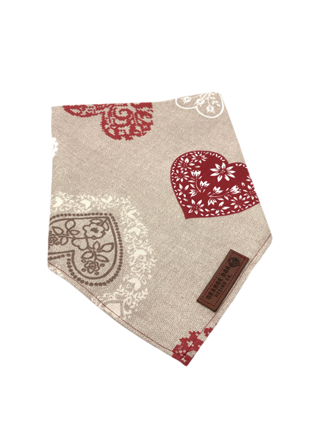 Lace Hearts Dog Bandanna - Red
