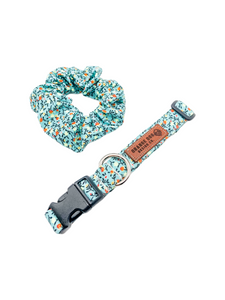 Turquoise Floral Collar & Matching Scrunchie