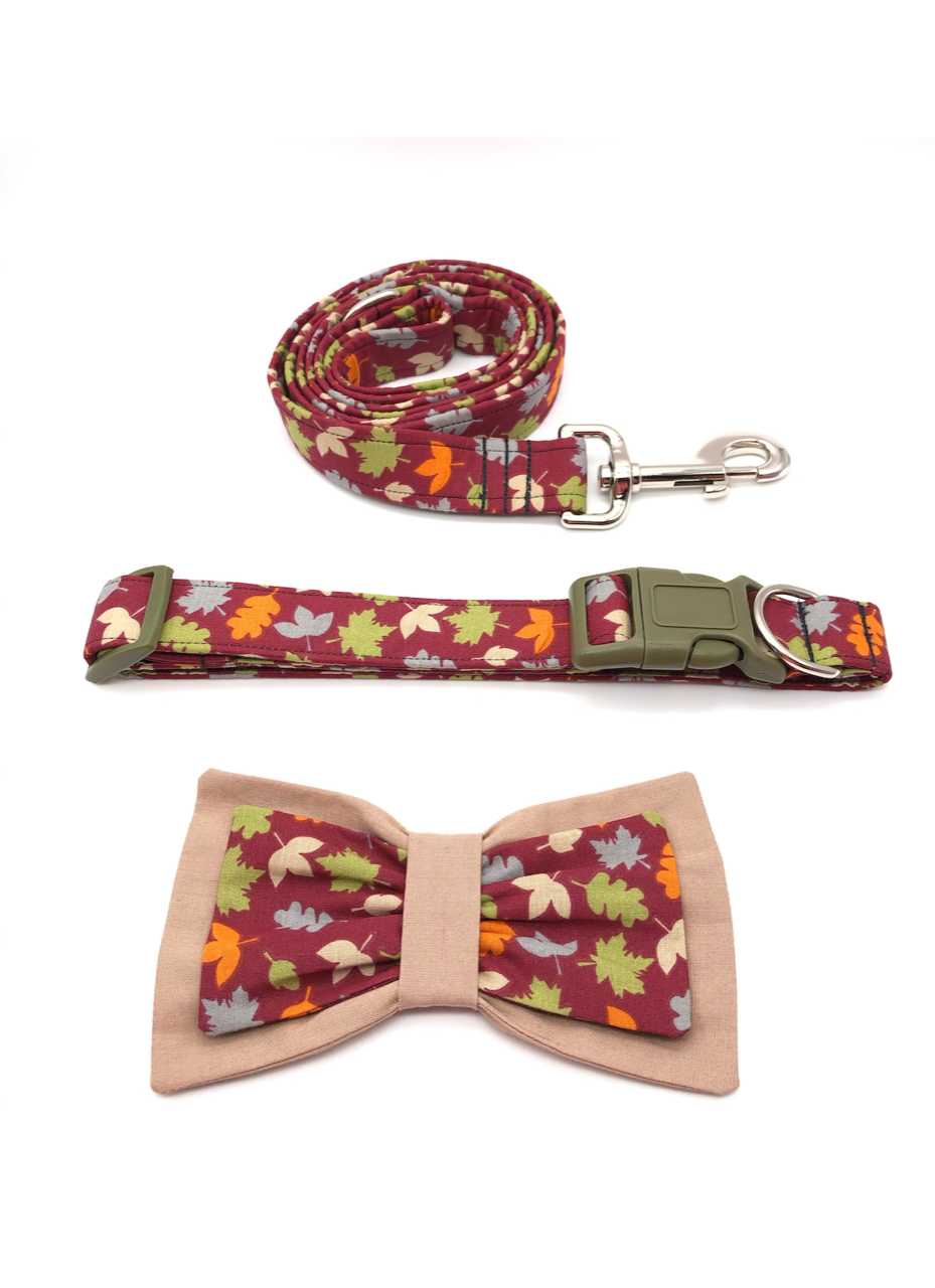 Burgundy Falling Leaves Collar Leash Set