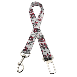 Grey & Burgundy Floral Seat Belt Restraint