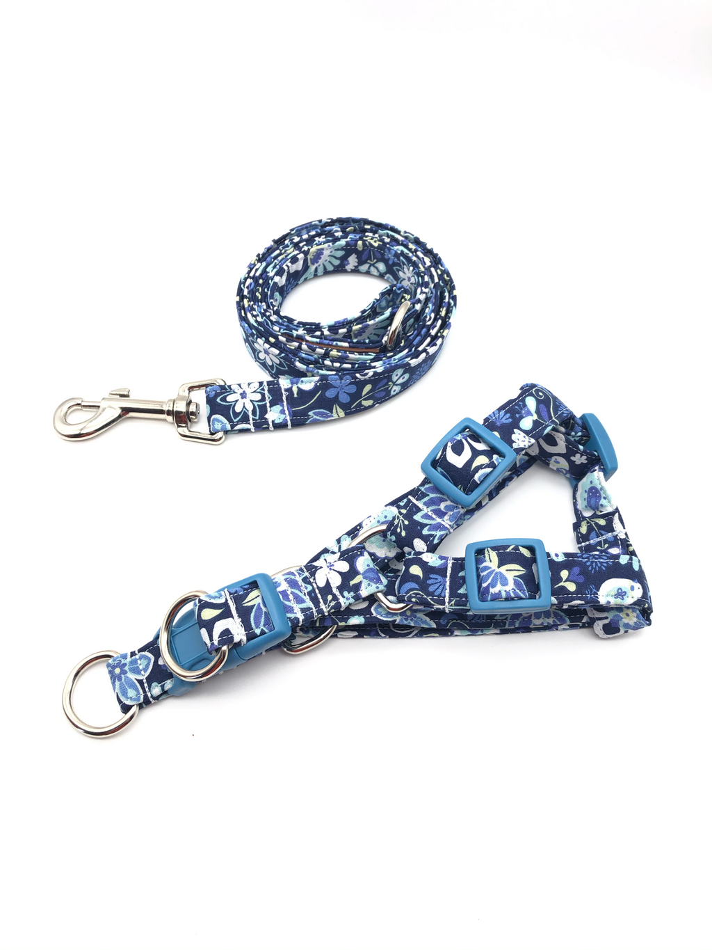 Navy Floral Harness Leash Set