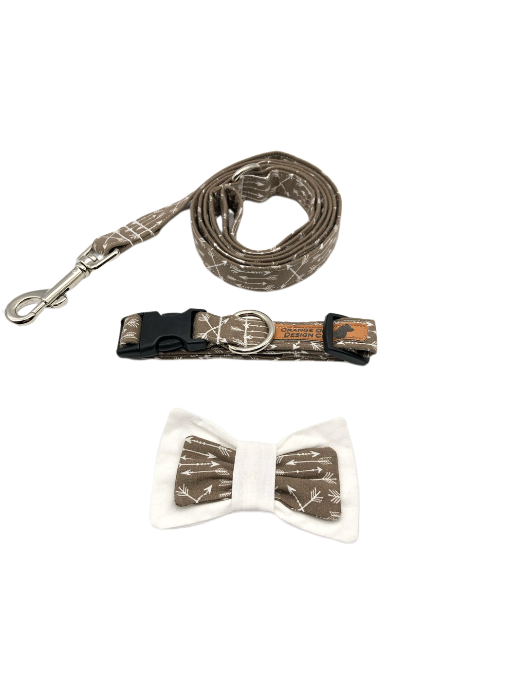 Tan Arrow Dog Collar Leash Set