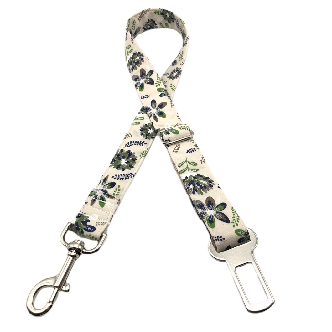 Tan & Navy Floral Seat Belt Restraint