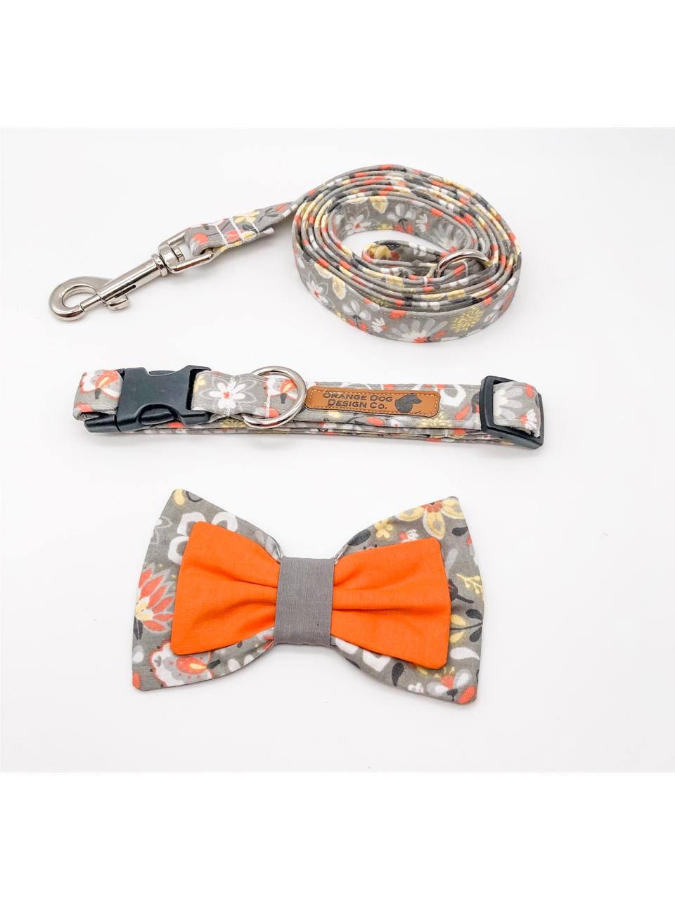 Orange & Grey Floral Collar Leash Set