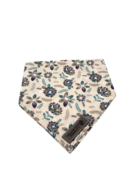 Grey Floral Dog Bandanna