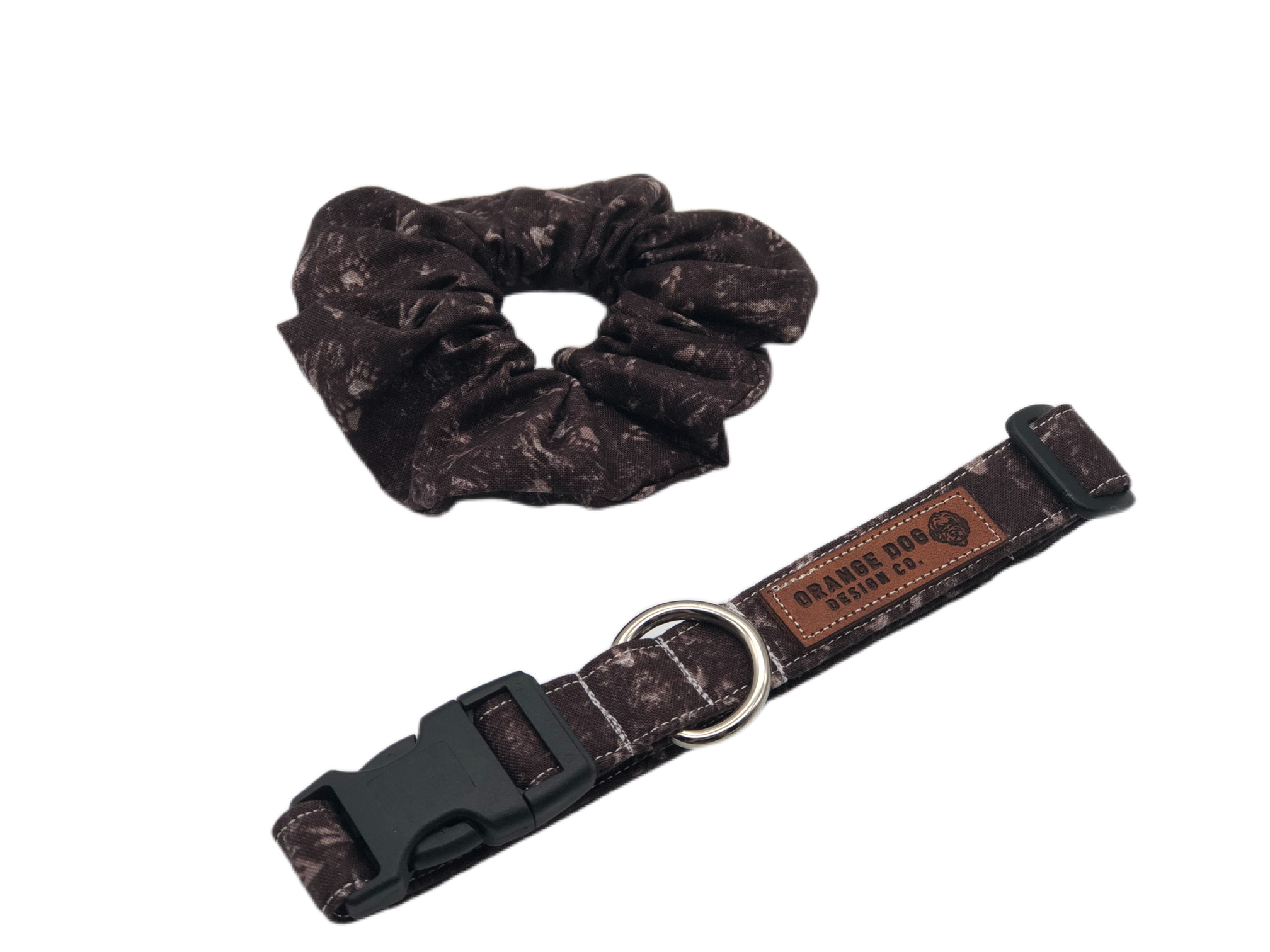 Brown Woodland Prints Collar & Matching Scrunchie