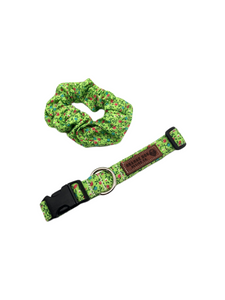 Green Floral Collar & Matching Scrunchie