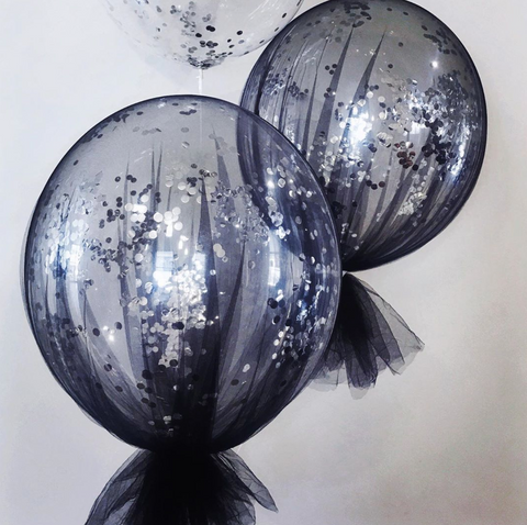black tulle balloons with silver confetti