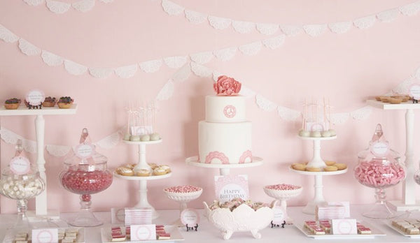 Pink Doily Birthday Party For A One Year Old Bickiboo