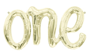 """One"" Script Gold Balloon Banner - Bickiboo Party Supplies"