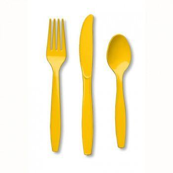 School Bus Yellow Plastic Cutlery - 24pack - Bickiboo Party Supplies