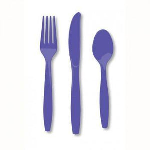Purple Plastic Cutlery - 24pack - Bickiboo Party Supplies