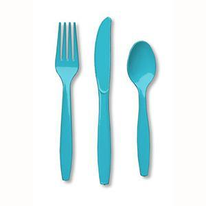 Bermuda Blue Plastic Cutlery - 24pack - Bickiboo Party Supplies