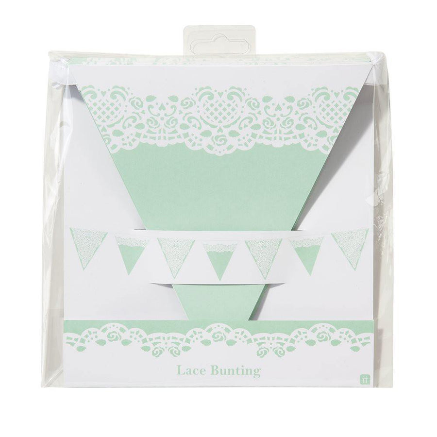 Lace Pastel Mint Bunting - Bickiboo Party Supplies