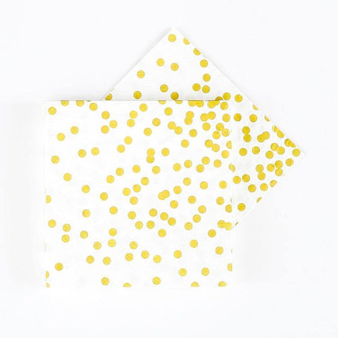 Gold Confetti Napkins -Set of 20