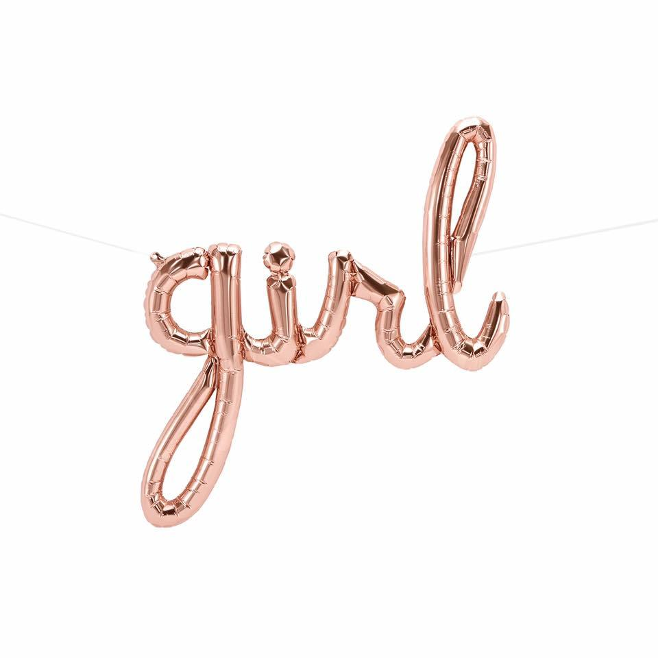Rose Gold Girl Script Balloon